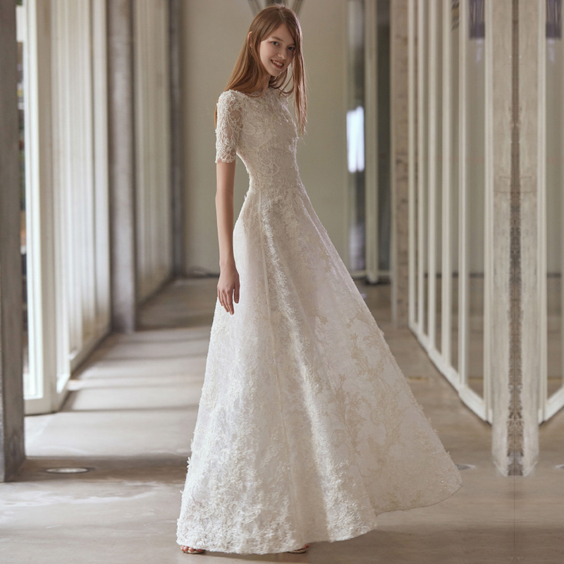ee61ecac0aa Wedding dress 2019 new bride simple Qi word one shoulder Sen long-sleeved  lace Slim thin ...