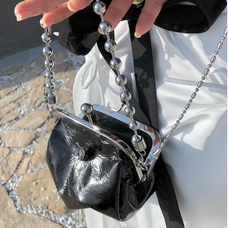 美少女战士月亮包同款链条包文艺学院风復古夹子包斜跨单肩包详细照片