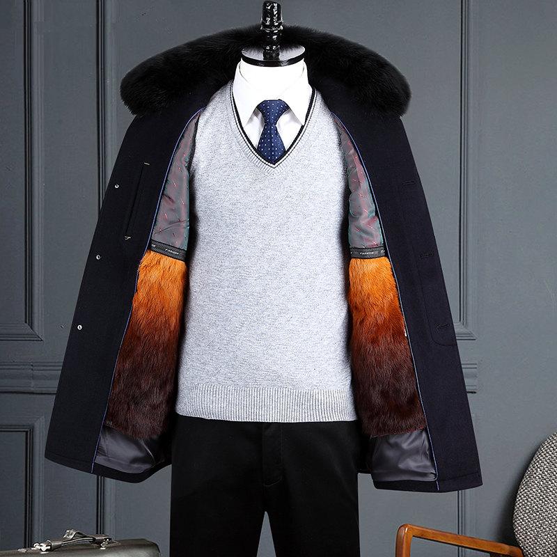 冬季男士羊毛妮子大衣中长款男水貂毛领中老年爸爸装加厚羊绒外套