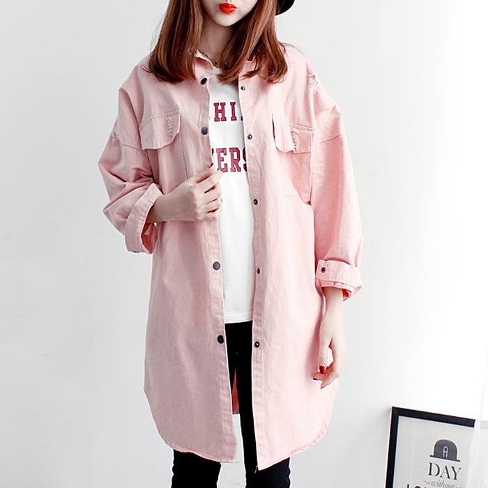 2018春季韩版宽松显瘦中长款女上衣韩范大版口袋破洞牛仔风衣外套