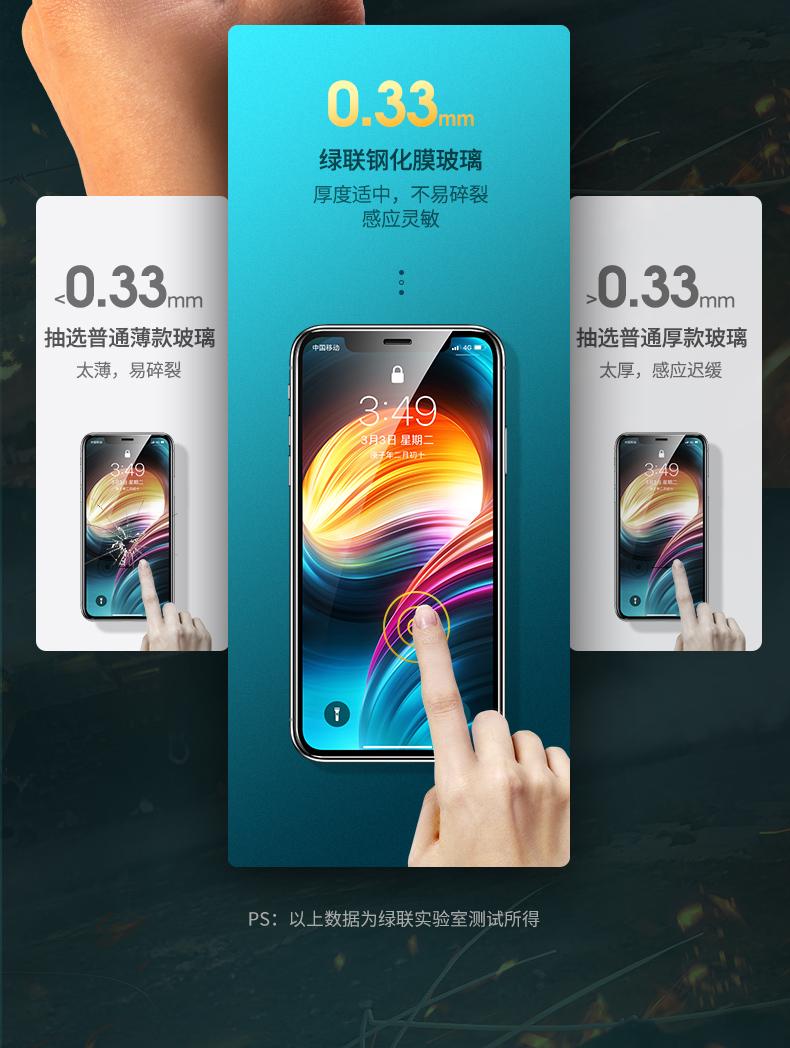 绿联 iPhone7-12全系列钢化膜 2片 图6