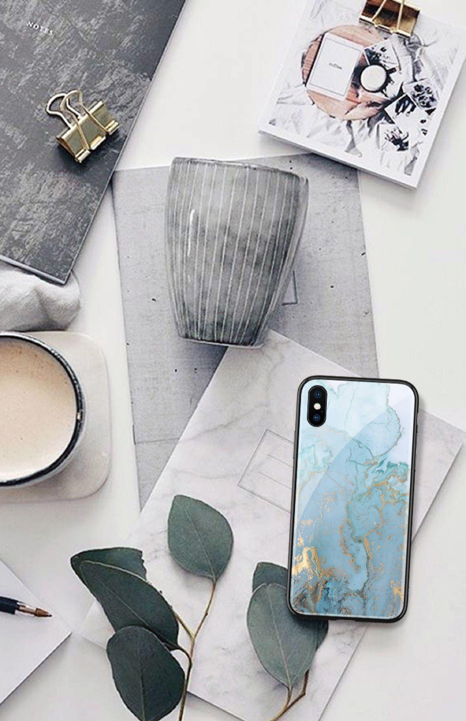 蓝色烫金大理石苹果11手机壳iphone 8plus新款x玻璃11pro简约ins风xs max个性创意6简约xr文艺xr硬7网红se2女商品详情图