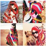 Scarf female summer sunscreen thin scarf multi-function wild shawl outside beach super large seaside dual-use scarf