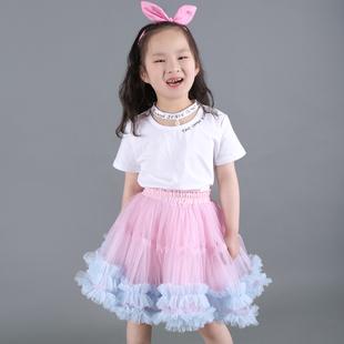 女童新款纯色短裙半身裙蓬蓬裙子