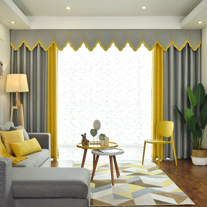 简约北欧风格纯色加厚棉麻拼接客厅落地窗全遮光窗帘定制窗幔帘头图片