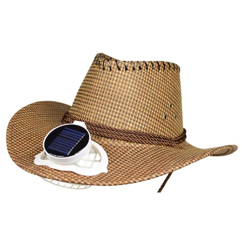太阳能风扇帽子太阳能充电带风扇的帽子成人男女遮阳防晒牛仔草帽
