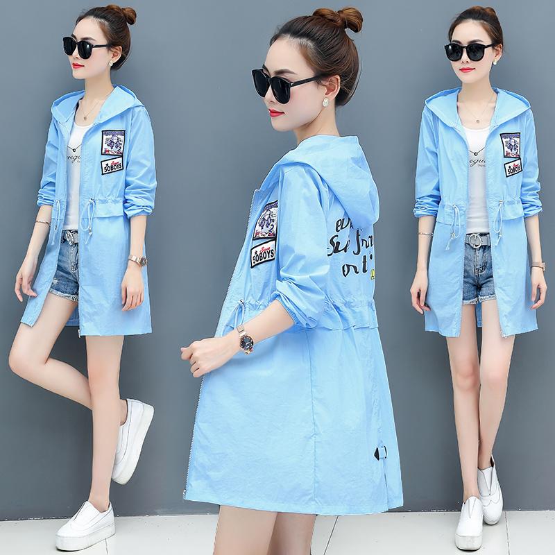 防晒衣女夏季新款韩版显瘦中长款开衫防紫外线外套学生风衣防晒服