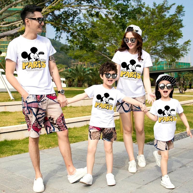 (两件装下单58元)夏季纯棉亲子装短袖T恤童装家庭男女卡通体恤衫