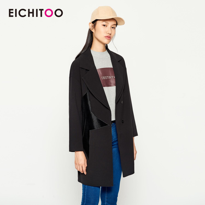 2018愛居兔女裝時尚黑色修身中長款大衣
