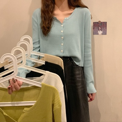 taobao agent Autumn 2021 new Korean version loose wild thin knit cardigan long-sleeved shirt women's solid color short bottoming shirt