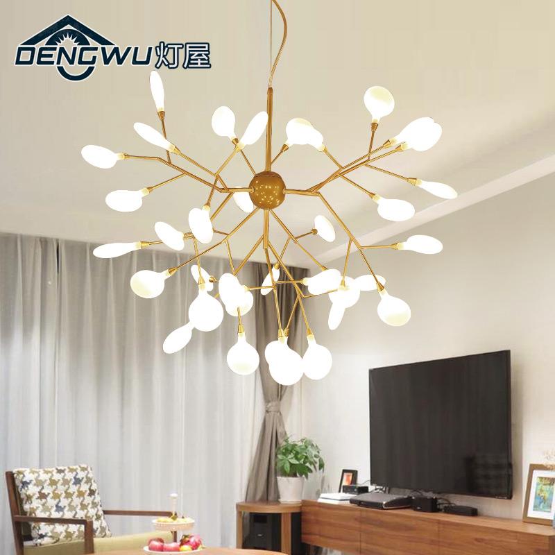 北歐燈具后現代創意客廳燈樹枝設計師個性餐廳簡約臥室螢火蟲吊燈