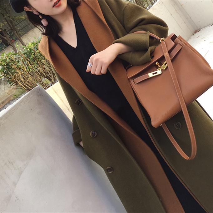 Áo khoác lông cừu nữ áo hai dây phù hợp với vải hai mặt bằng vải len dài chờ đợi phong cách Hepburn - Áo len lót đôi