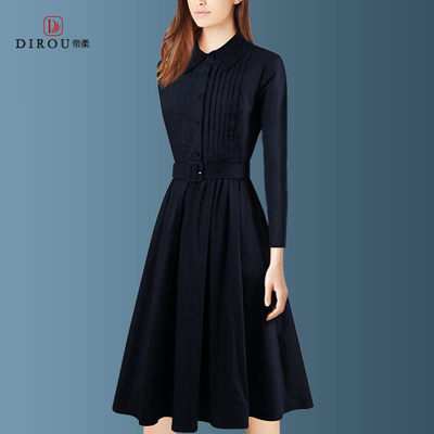 2020 new autumn and winter fashion long-sleeved dress female long section slim slimming large size temperament shirt skirt