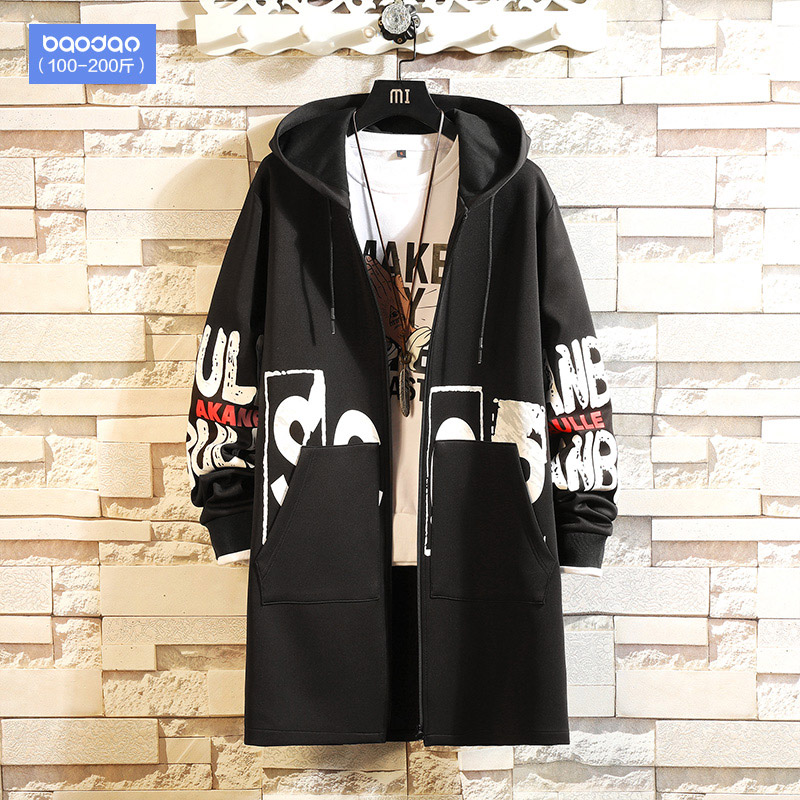 Chinese wind tooling men's autumn and winter long trench coat Tide brand plus fertilizer plus size fat loose fleece jacket