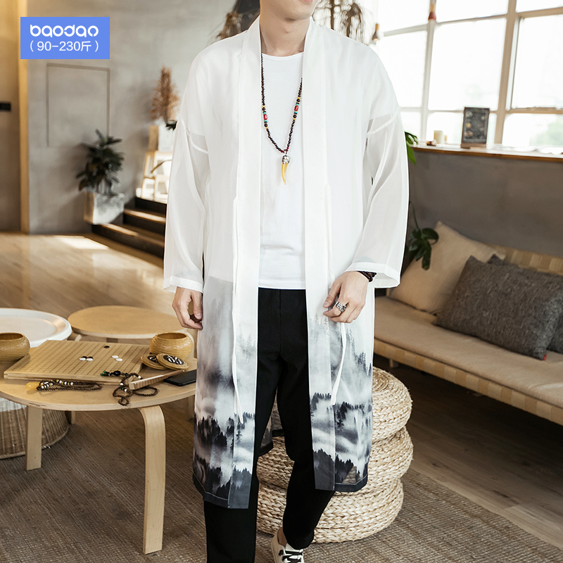 Summer men's Chinese wind thin section sunscreen loose long section windbreaker jacket fat plus fat plus size coat