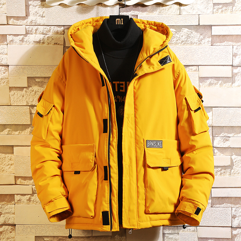 Men's workwear cotton coat tide brand ins winter trend fat increase code thick cotton clothing short fat fat loose