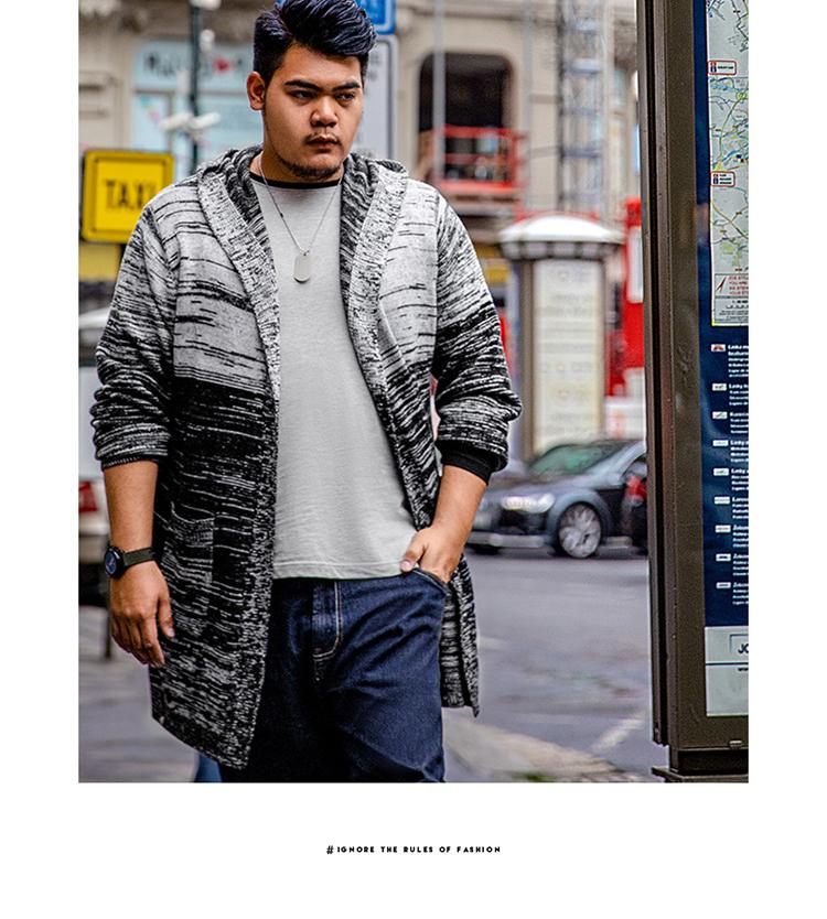 Hành tinh béo cộng với size đàn ông cộng với béo cộng với size béo anh chàng áo len dốc hoa đường kẻ béo trùm đầu đan áo len thủy triều - Hàng dệt kim