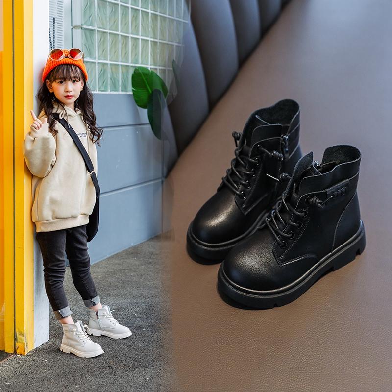 女童马丁靴2020秋冬新款儿童时尚黑色英伦风真皮短靴网红百搭单靴