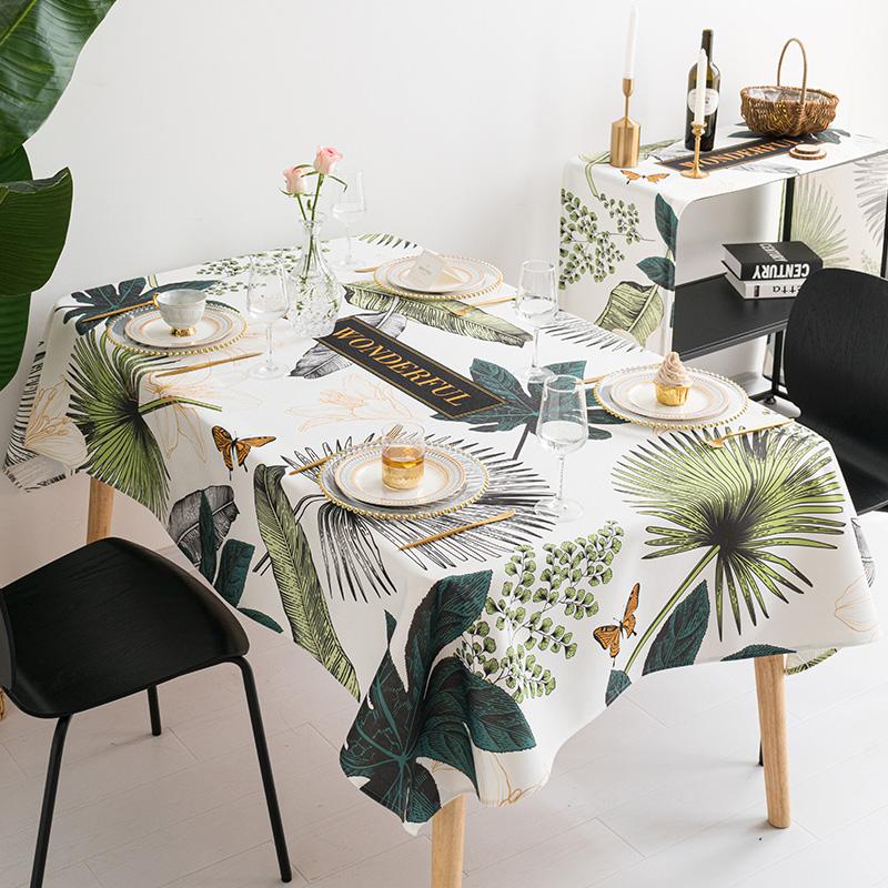 美式棉麻餐桌布艺ins防水防烫桌布