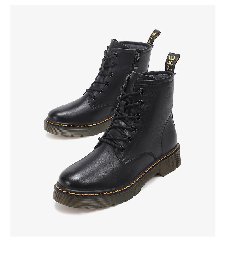 骆驼女鞋年新款冬季短靴厚底加绒冬靴子潮英伦风马丁靴女详细照片