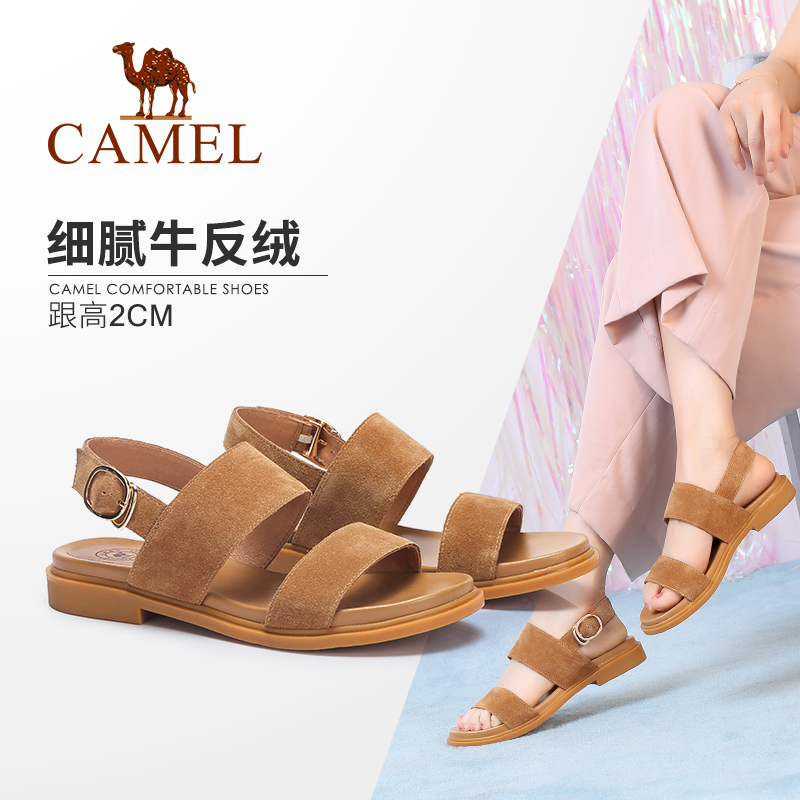 Camel shoes 2019 summer New comfortable casual cow suede word buckle Korean version of the Wild low-heeled sandals