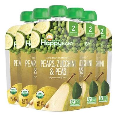 美国禧贝happybaby2段透明装有机辅食果泥果蔬泥雪梨西葫芦豌豆*5
