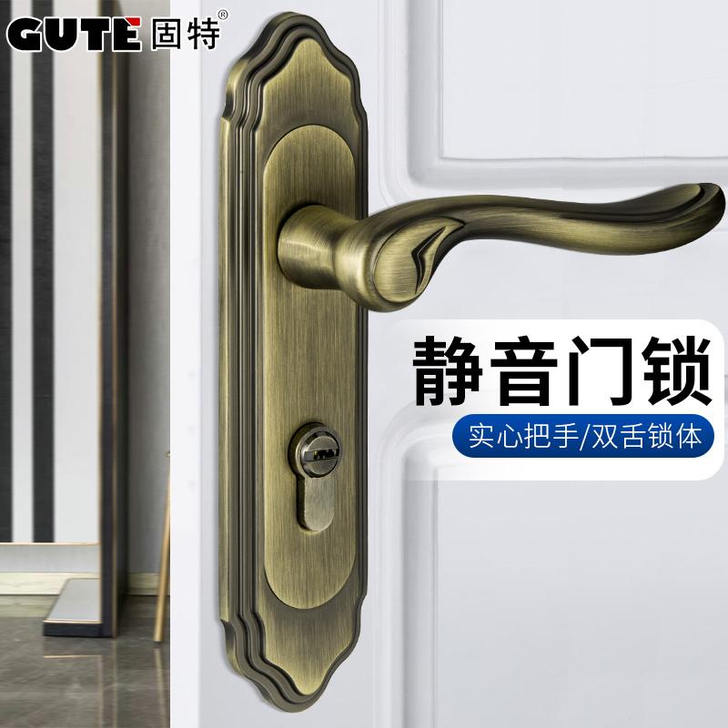 solid special door lock green bronze european classical door lock handle lock bedroom door lock handle - Bedroom Door Lock