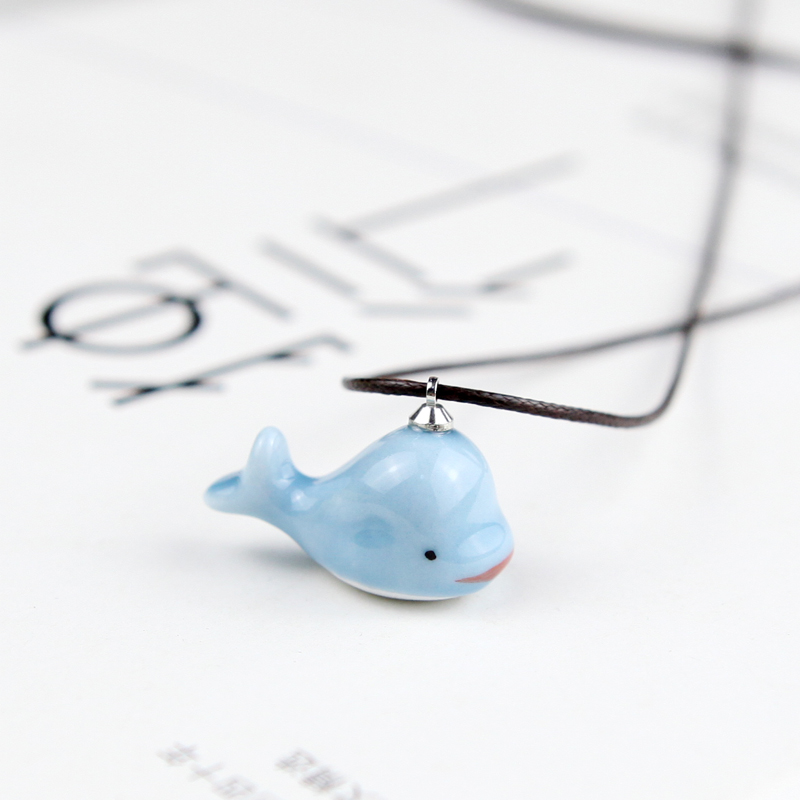 QingGe hand - made ceramic dolphin necklace getting joker contracted color glaze pink collar ipads chain girl market. I supply of goods