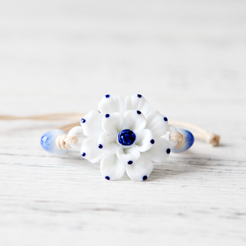 QingGe ornaments of jingdezhen ceramic accessories/jewelry braided bracelet getting white lotus flower bracelet booth in supply