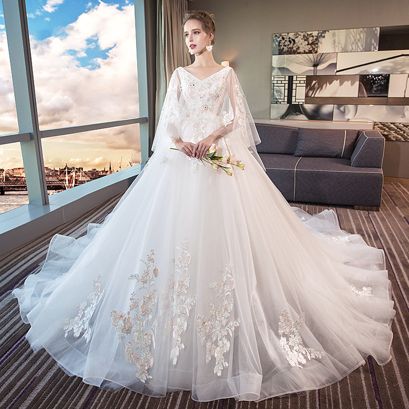 82938db0858 The main wedding female 2019 new bride large size 200 pounds fat mm ...