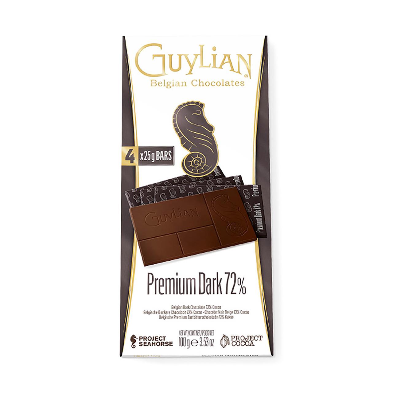 吉利莲比利时进口72%可可黑巧克力100g*1盒休闲健康零食礼物健身