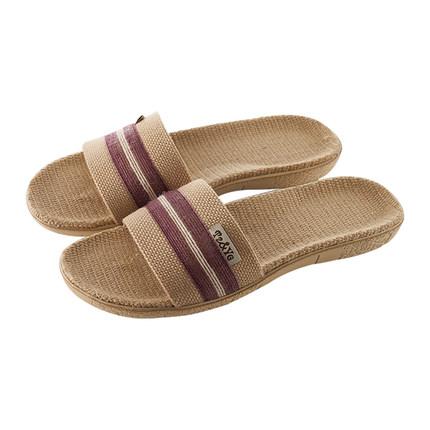 远港全亚麻拖鞋夏季女室内情侣家用防滑抗菌布凉拖鞋男士居家凉鞋
