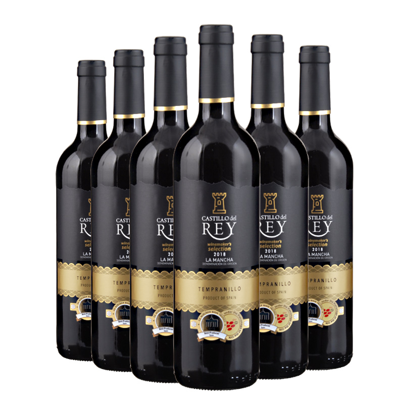 红酒干红整箱西班牙原瓶进口红酒丽瑞城堡红葡萄酒6支整箱装