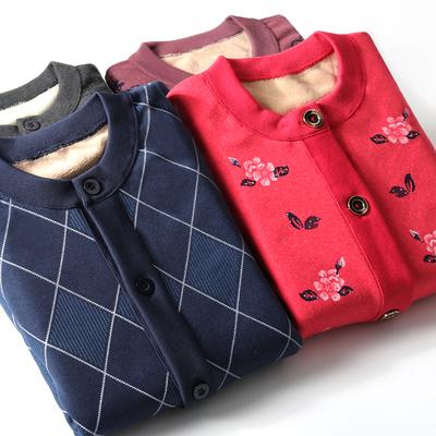 俞兆林中老年保暖加厚爸爸妈妈加绒羊羔绒棉男女大松开衫冬季上衣