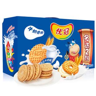 亿滋优冠饼干牛奶香脆原味1000g早餐每箱10包大包装独立装2份购