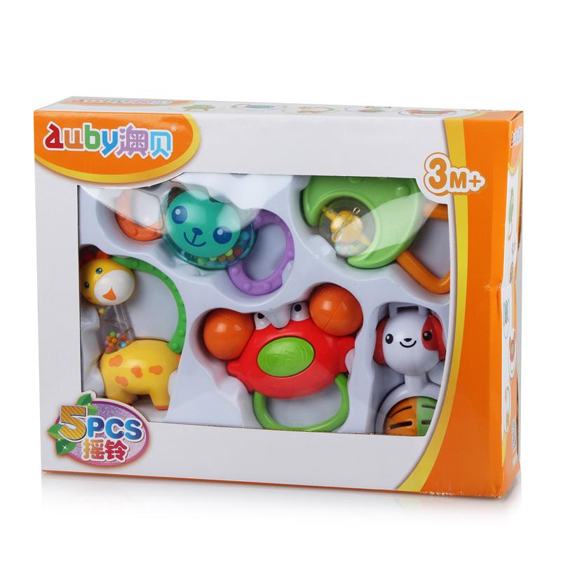 Auby/ австралия моллюск погремушки прорезыватель сын привел подарок пять упакованный погремушки младенец молодой