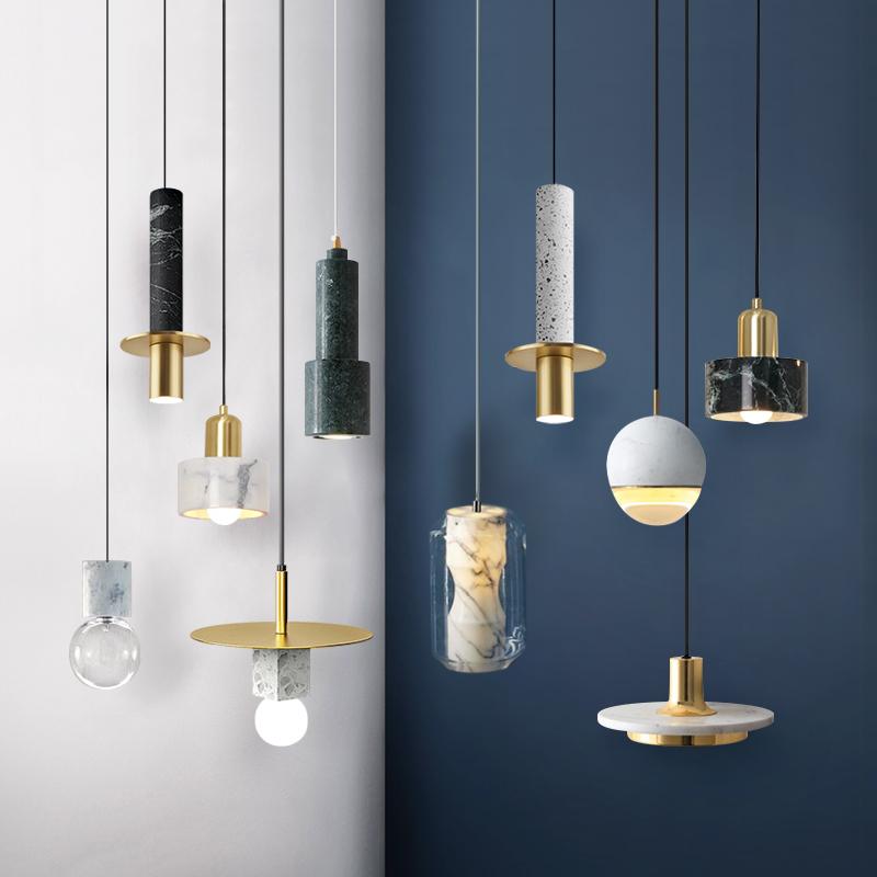北欧卧室床头灯现代轻奢创意云石大理石餐厅吧台设计师单头小吊灯