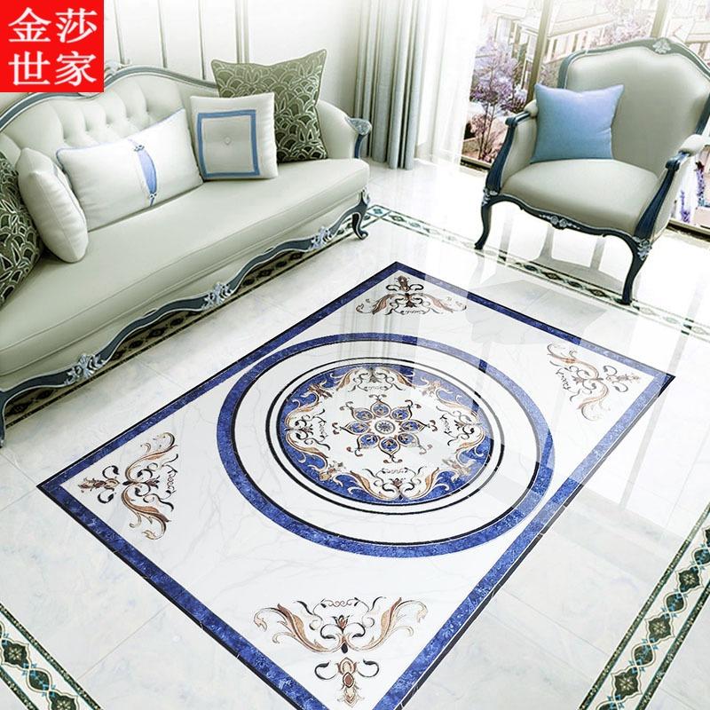 中式拼花瓷砖客厅餐厅800x800地板砖拼花图案现代简约微晶砖造型 Изображение 1
