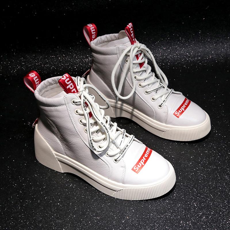 嘻哈街舞高帮鞋女鞋2018秋冬季新款韩版百搭漆皮小白鞋系带板鞋潮