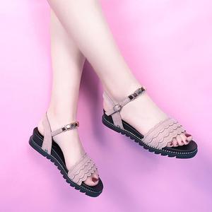 罗马凉鞋女简约一字扣带露趾凉鞋