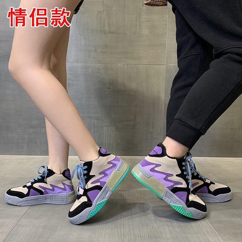 男女同款秋冬季百搭高帮鞋2020新款ins潮鞋学生加绒休闲二棉板鞋