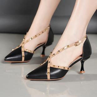 凉鞋女士中空性感夏季复古细跟高跟鞋