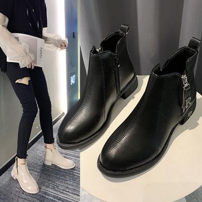 马丁靴女秋冬季2019新款英伦风网红粗跟加绒保暖低跟切尔西短靴子