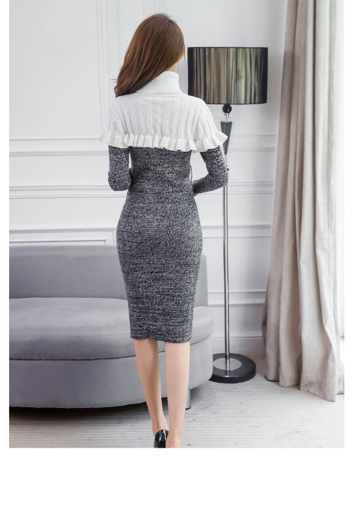 高仿圣罗兰ysl2018新款修身打底针织连衣裙高领QHU432 第15张