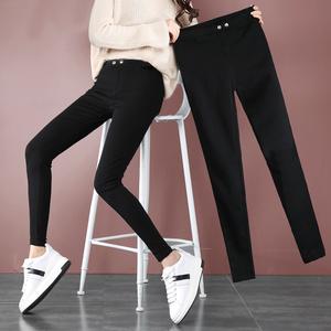 黑色魔术打底裤秋季2018新款韩版加绒铅笔裤子女外穿紧身小脚裤冬