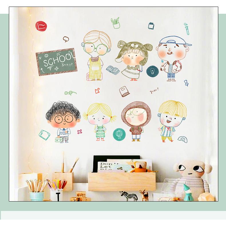儿童房装饰墙纸自粘墙壁贴画幼儿园墙面翻新墙贴背景墙布置门贴纸商品详情图