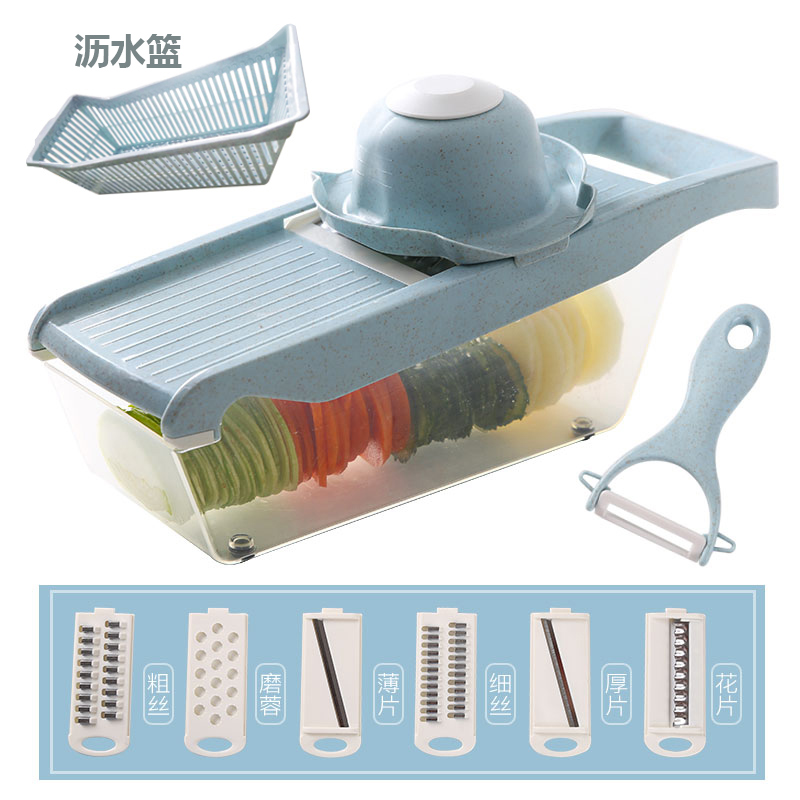 Upgraded version of wheat straw blue six blade (with drain basket storage box ceramic planing knife)