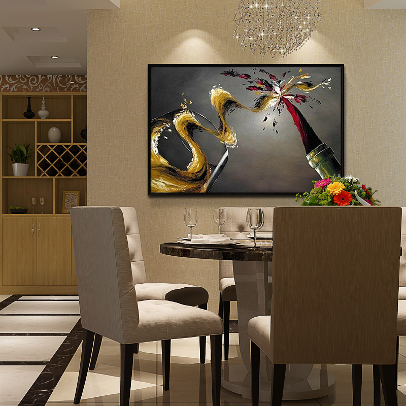 Restaurant Paintings European Style Dining Room Decorative Painting American Wall Painting Modern Oil Painting Hand Painted Cafe Mural Wine Glass