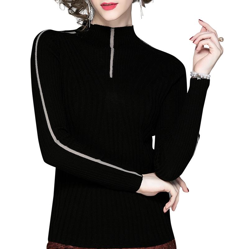 黑色半高领打底衫新款针织衫