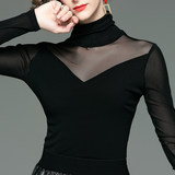 Fashion and simple black tops women's spring new styles with slim high-neck mesh bottoming shirts and foreign-style t-shirts